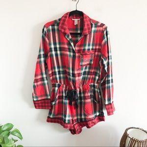 VICTORIAS SECRET plaid flannel dream romper small